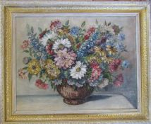 Framed oil on board still life of a bowl of flowers by John Bailey 69.5 cm x 57 cm (size including