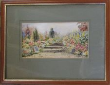 Framed watercolour of a garden pathway 44.5 cm x 34.5 cm (size including frame)