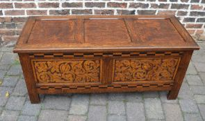 Reproduction 17th century oak coffer with ornate carving & parquetry inlay L 134 cm D 54 cm H 59 cm