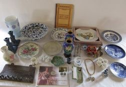 Assorted ceramics inc cloisonne, pipe stand, soap stone, coin and memorial locket etc