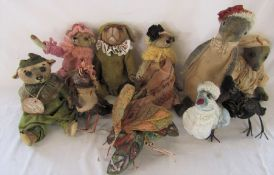10 Daria Sikora OOAK handmade animals inc butterflies, birds and penguin (primitive dolls)