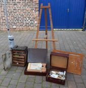 Large quantity of artist's equipment including easels & paints