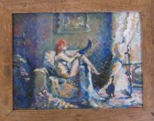 Framed and glazed oil painting of a nude by Lindsey Bishop 48 cm x 38 cm (size including frame)