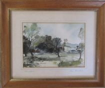 Framed watercolour by Lincolnshire artist John Brookes entitled 'Woodland' 29 cm x  24 cm (size