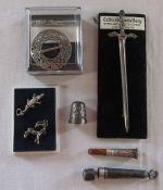 Sterling silver kilt sword brooch L 11 cm weight 0.43 ozt, silver thimble, Norsk Fradisjonsseh