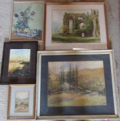 Selection of framed watercolours inc N Ricketts and F M Towle