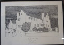 Charles Rennie Mackintosh (1868-1928) framed print of a pen and ink drawing of The Hill House