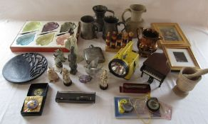 Various ceramics, glassware, decoupage pictures, pen, torch, wooden puzzle and pewter etc