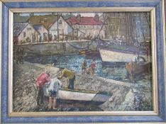Framed oil on board of a fishing harbour scene signed Holness together with a further oil on board