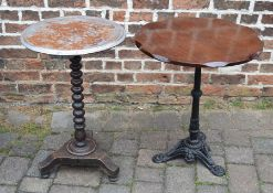 Occasional table on a cast iron base & one other