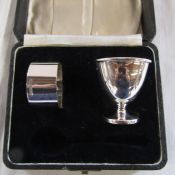 Cased egg cup and napkin ring (no spoon) Sheffield 1949 weight 2.09 ozt