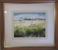 Framed watercolour by Lincolnshire artist John Brookes of fields with farmhouse in foreground 45