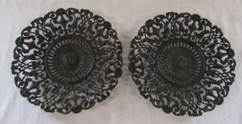 Pair of pierced Coalbrookdale foliate motif plates, both stamped Coalbrookdale and the number 207 to