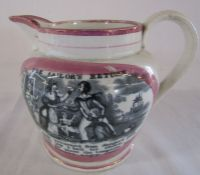 Sunderland lustre jug illustrating 'The sailor's return' and 'May they ever be united Crimea' H 12