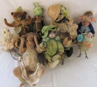 10 named Daria Sikora OOAK handmade animals inc Marianne - teddy bear, Pauline - cat, Danielle -