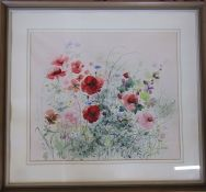 Large framed watercolour 'Wild Bank' by Sylvia Knight signed and dated 81 cm x 74 cm (size including