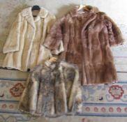 2 fur coats and a fur cape / shrug