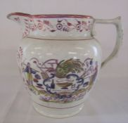 Large Sunderland lustre jug with 'Success to the farmer' dated 1832 H 18 cm