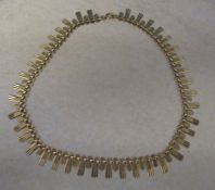 9ct gold cleopatra necklace weight 15.8 g L 39 cm