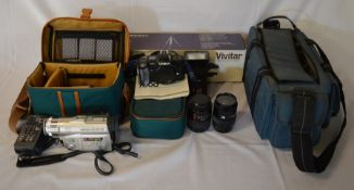 Camera equipment: Minolta 7000 SLR camera with 2 lenses & flash, Panasonic video camera & a