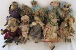 10 Daria Sikora OOAK handmade animals inc crocodile, teddy bear and cow (primitive dolls)