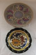 Charlotte Rhead charger D 32 cm & Gouda pottery dahlia pattern fluted bowl D 23 cm