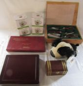 4 boxed mugs, cased gardening tools, display box, scrabble presentation edition etc