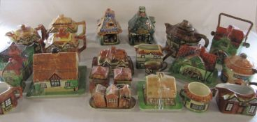 2 boxes of Cottage ware inc teapots, butter dishes etc & 2 Derek Fowler pottery night lights