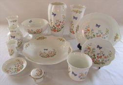 Selection of Aynsley 'cottage garden' pattern ceramics (tallest vase H 23 cm )