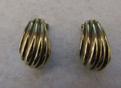 Pair of 18ct gold clip on earrings weight 5.7 g H 17 mm