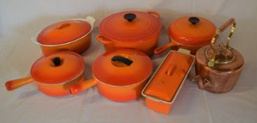 6 pieces Le Creuset & similar pans & oven to table ware & a copper kettle