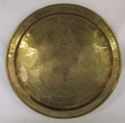 Large Oriental style brass charger / tray D 59 cm