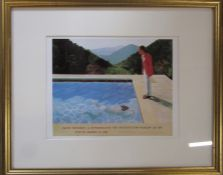 David Hockney (b.1939) framed lithographic poster print The Metropolitan Museum of Art 1988 56 cm