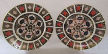 Pair of Royal Crown Derby imari pattern plates pattern no 1128 D 27 cm