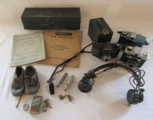 Various cameras inc Kodak brownie, Empire Junior, Coronet and Lina, J Hudson & Co whistle 1907,