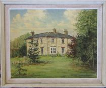 Clive Browne (1901-1991) framed oil on canvas 'The old vicarage, Cabourne' January 1978 58.5 cm x