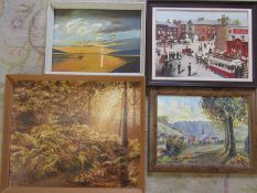 Selection of landscape paintings inc Oldham Town Centre oil on board by J Sutcliffe 49 cm x 38 cm (