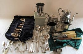 Various silver plate inc tea set and cutlery