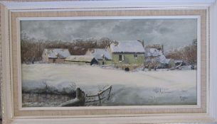 Framed oil on board 'Snow clouds' by M Yates 1988 60 cm x 35 cm (size including frame)