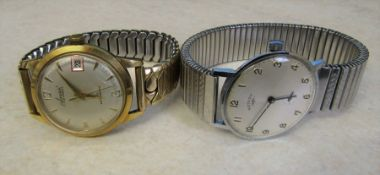 Gents Accurist gold plated 21 jewel wrist watch with elasticated strap & Rotary wrist watch with
