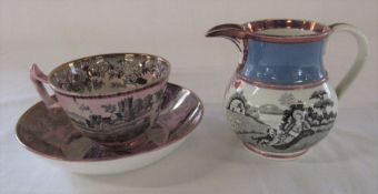 Small Sunderland lustre jug with two country transfers H 9 cm & a Durham Davenport lustre cup and