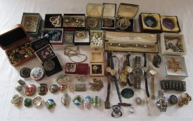 Large quantity of costume jewellery inc silver and watches etc