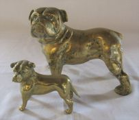 Large brass bulldog H 16 cm L 22 cm and one other H 9 cm L 10 cm