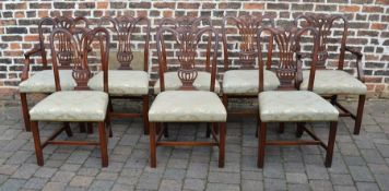 Set of 8 (inc 2 carver) Reprodux Chippendale style mahogany dining chairs