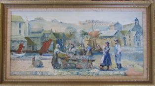 Framed oil on canvas of a fishing harbour scene by W Sharples 68 cm x 37 cm (size including frame)