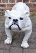 Large ceramic bulldog (repair to two legs) & a classical statue
