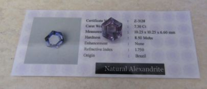 7.30 ct alexandrite stone with certificate 10.25 x 10.25 x 6.60 mm