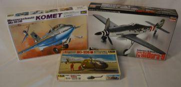 3 aeronautical model kits: Komet, Focke-Wulf FW190 & a MBB BO-105M Messerschmitt helicopter.
