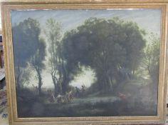 Large gilt framed oil on canvas of a figural group in a wood (af) 145 cm x 113 cm (size including