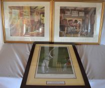 Pair of A L Grace limited edition prints signed by Len Hutton 'Vision Of A Hat-trick' & 'A Century